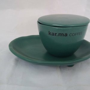 Ceramic Cappuccino Cup with Cover and Saucer